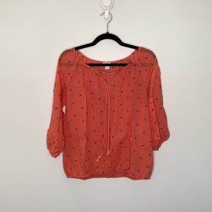 J.Crew factory textured dot peasant coral Small